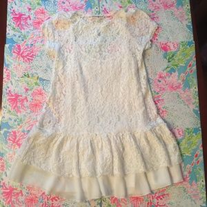 Altar'd State White Lace Drop Waist Dress Small